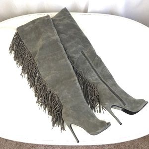 NIB Grey Stella Thigh High Fringe Peep Toe Boots